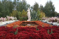 Park Tsaritsyno in Moscow city, Russia. Tsaritsino Festival of Historical Gardens 2020. Park design