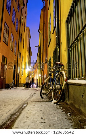 Parked bicycle in narrow street in the old town of Stockholm