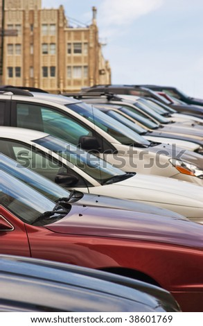 Parked Cars on Hill - stock photo