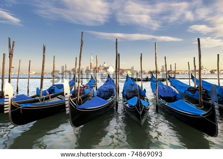 Parked gondolas in Venice, Italy - stock photo