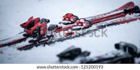 Parked skis - stock photo