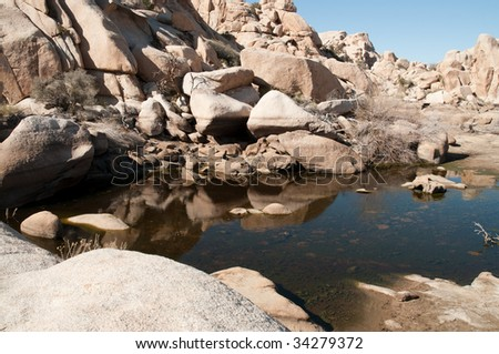 Parker Dam lake and rock formations