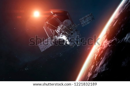 Parker Solar Probe spacecraft orbiting Earth planet. Elements of this image furnished by NASA