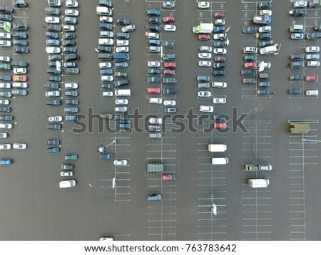 Parking. Cars. Aerial view Imagine de stoc ©