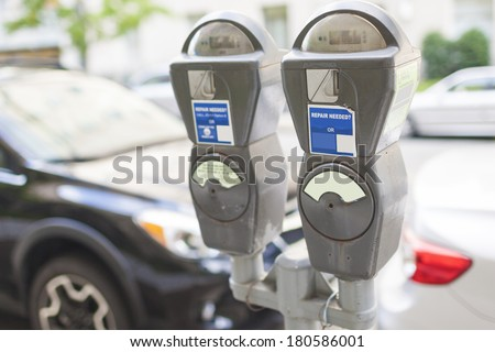 Parking Device in The city. Horizontal Image