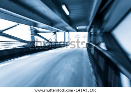 Parking entrance channel,Motion blur