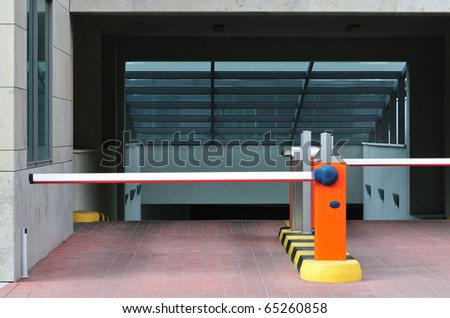 Parking entrance in business center or residence.