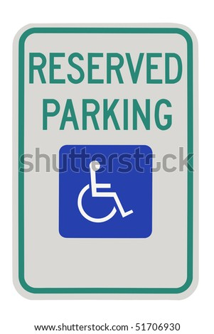 Parking for disabled or wheelchair space, on white background.