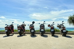 Parking for motorcycles. Sea. freedom.