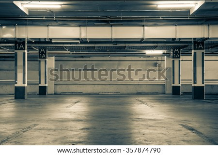 Parking garag interior, industrial building,Empty underground parking background