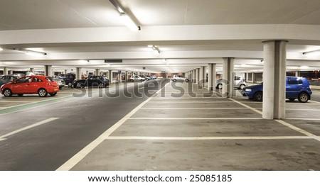 Parking garage - interior shot of multi-story car park