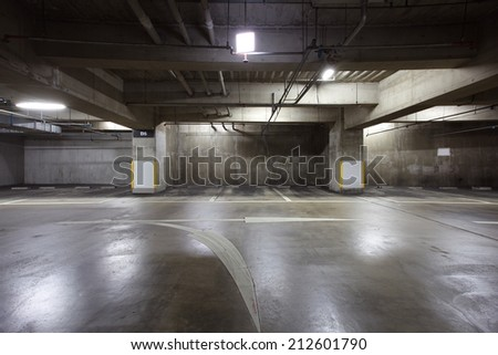 Parking garage underground interior neon lights in dark