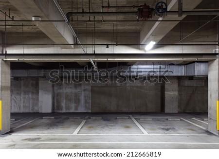 Parking garage underground interior neon lights in dark
