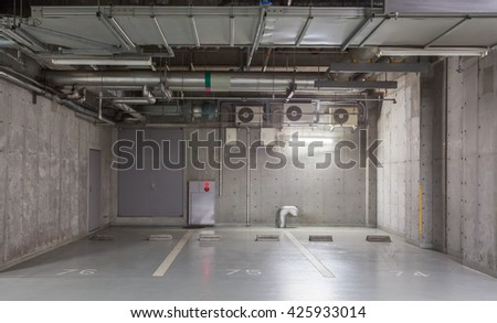 Parking Garage Underground Interior, Neon Lights In Dark #425933014