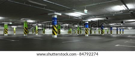 parking garage, underground interior of shopping center