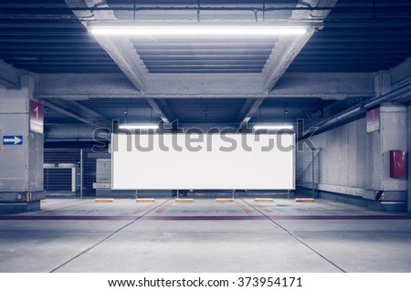 stock photo parking garage underground interior with blank billboard 373954171 - Каталог - 3d фотообои
