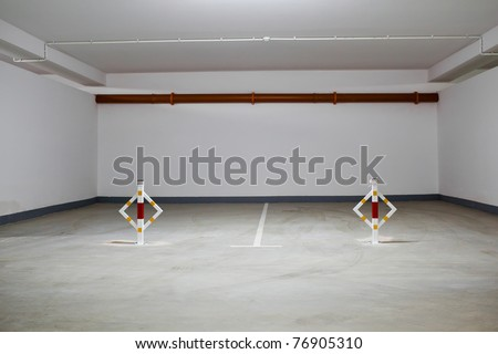 Parking garage, underground interior without cars