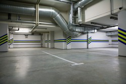 Parking in a cellar of a modern building