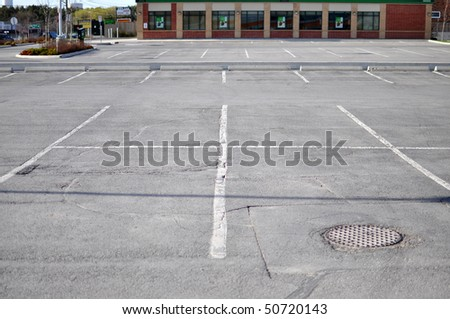 Parking lot in a commercial plaza