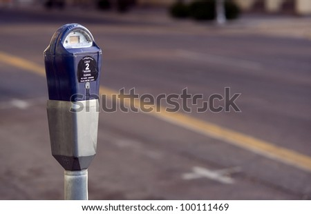 Parking Meter Toll Device Downtown in the city