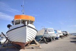 Parking of boats on the shore of the Baltic sea