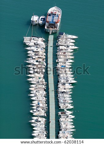 Parking of motor boats,aerial view,the Tyrrhenian Sea,Italy