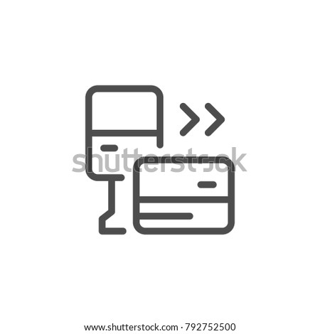 Parking payment line icon isolated on white