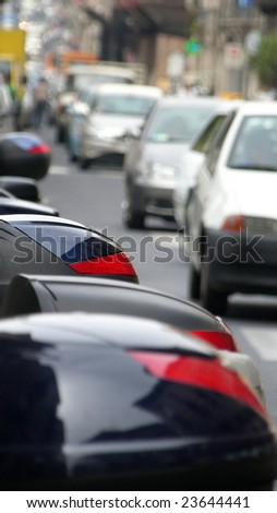 parking place. cars and motorcycles