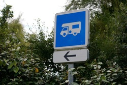 parking sign area for motorhome signage with blue roadsign panel