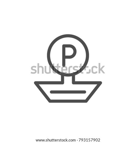 Parking sign line icon isolated on white