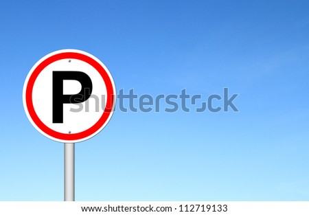 Parking sign over blue sky blank for text