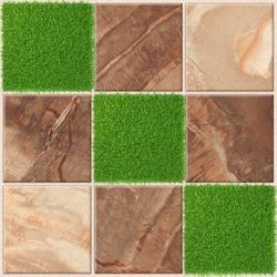 Parking tiles design, Stone and Grass floor