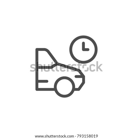 Parking time line icon isolated on white