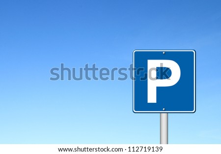 Parking traffic sign with blue sky blank for text