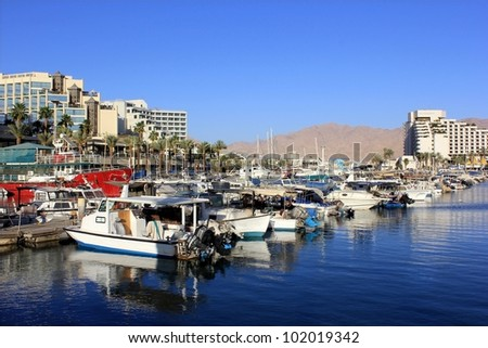 Parking yachts in Eilat, Red Sea, Israel