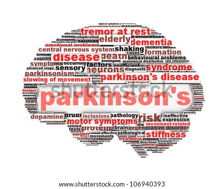 Parkinson's disease conceptual design isolated on white. Mental health symbol concept