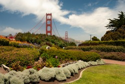 Parklands and gardens surround much of the areas around the ends of Golden Gate Bridge in SanFrancisco and Marin Counties, California