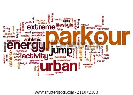 Parkour concept word cloud background