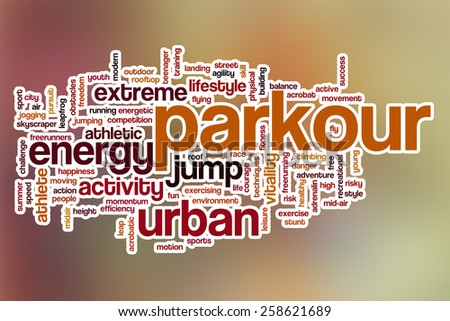 Parkour word cloud concept with abstract background