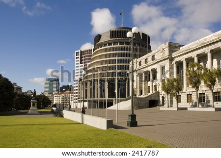 Parliament and Beehive office building, Wellington, New Zealand