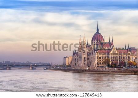 Stock Photo Parliament building, Budapest city, Hungary, on sunrise