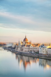Parliament building in Budapest, Hungary in the morning