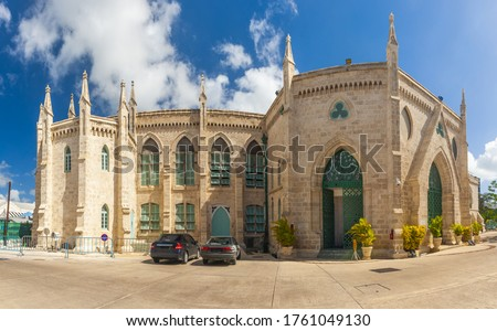 Parliament government building is located on Broad Street in Bridgetown in Caribbean island Barbados Foto stock ©