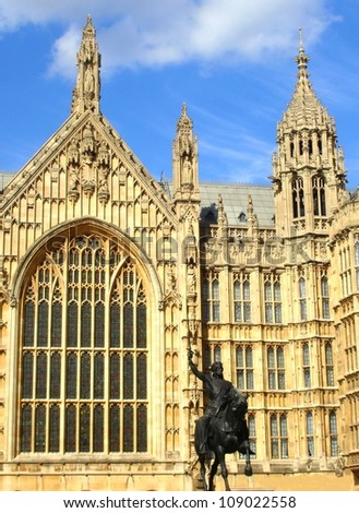 Parliament London and the Statue of Richard The Lionheart , United Kingdom