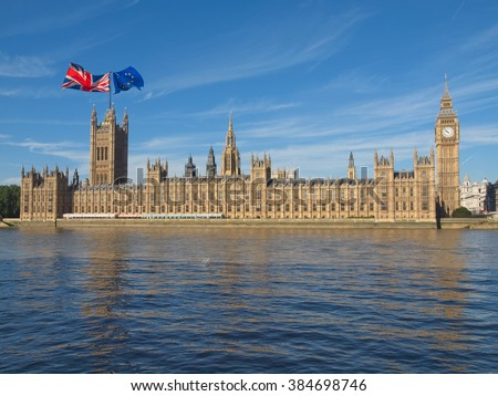 Parliament with two flags: June 23 referendum, Should the United Kingdom remain a member of the European Union or leave the European Union. The poll is aka Brexit meaning Britain exit #384698746