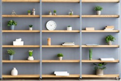 Parlor, office and simple home interior. Shelves with plants in pots, accessories, decor elements and clock on gray wall background in contemporary interior at flat, flat lay, copy space, nobody