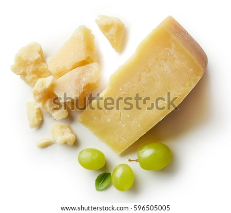 Parmesan cheese and grapes isolated on white backgroun. From top view