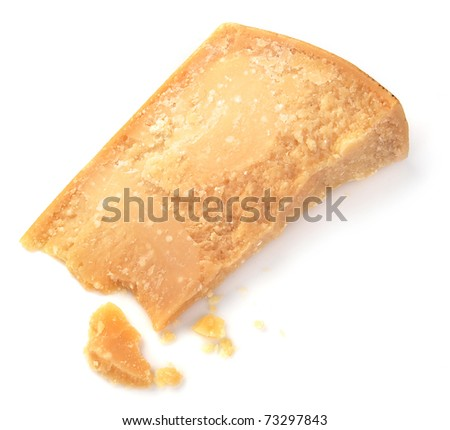 Parmesan cheese on a white background