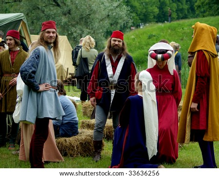 PARNU, ESTONIA - 28TH OF JUNE 2009 : Participants in medieval clothes get ready to participate during 29th International Hanseatic Days 26-28 June 2009 in Parnu, Tallinn, Estonia.