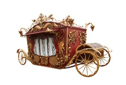 Parody of an old carriage isolated on white